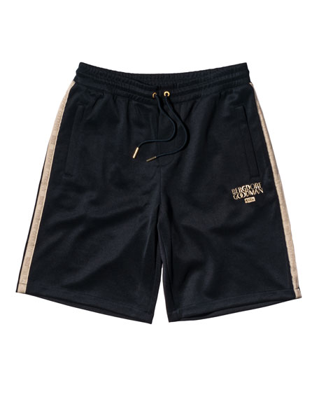 Embroidered Drawstring Shorts, Navy