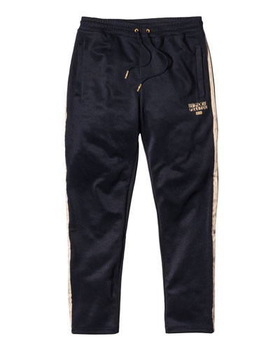 Embroidered Track Pants, Navy