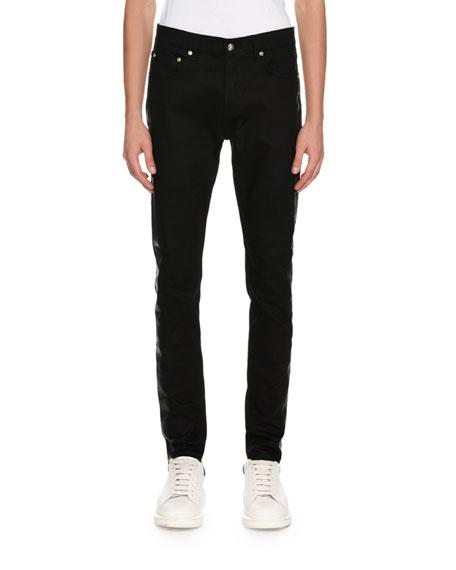 Coated-Stripe Skinny Jeans, Black