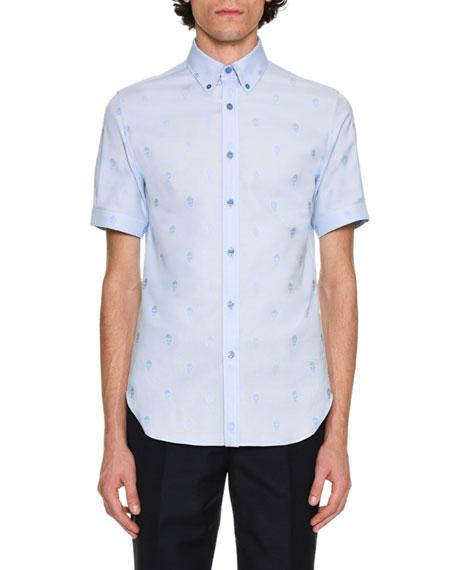 Skull Jacquard Short-Sleeve Cotton Shirt, Light Blue