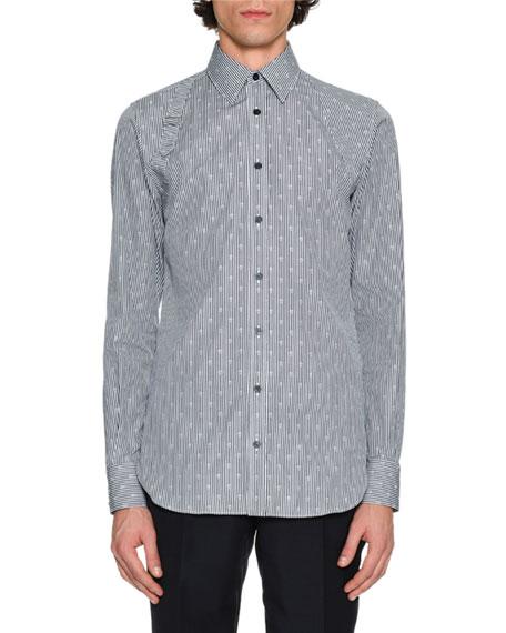 Striped Skull Jacquard Harness Shirt, Navy/White Multi