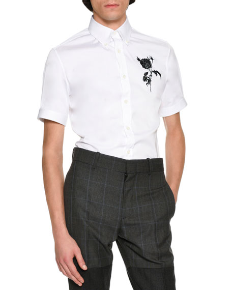 Alexander McQueen Rose & Thistle Short-Sleeve Cotton Shirt,