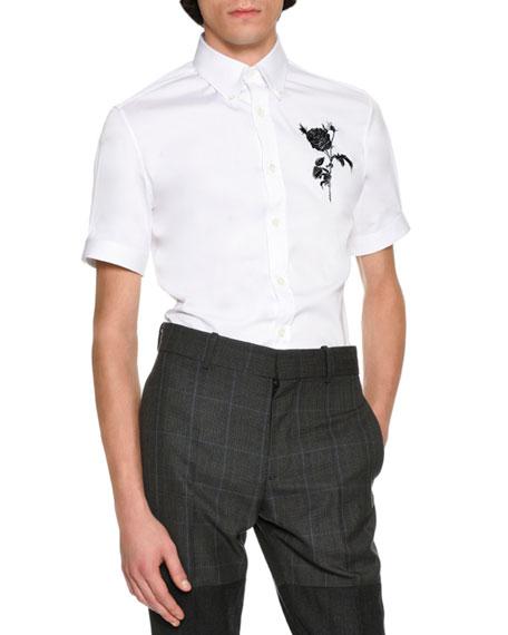 Alexander McQueen Rose & Thistle Short-Sleeve Cotton Shirt,
