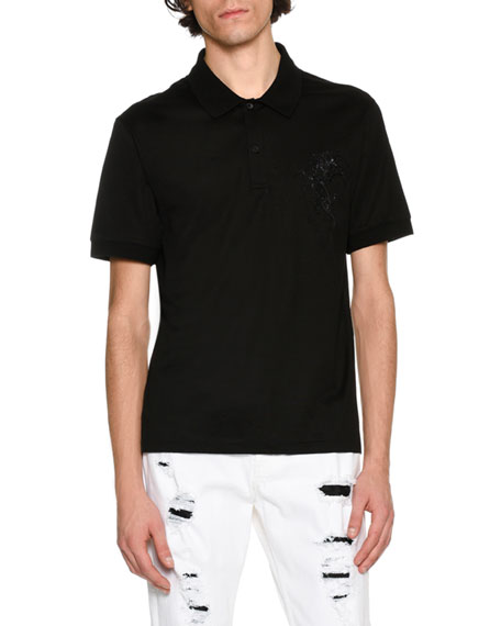 Embroidered-Pegasus Polo Shirt, Black