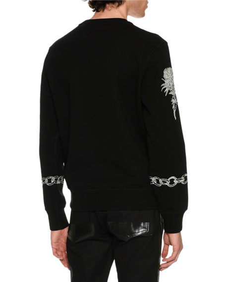 Stitch-Embroidered Sweatshirt, Black