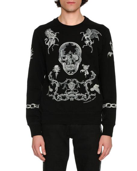 Stitch-Embroidered Sweatshirt, Black