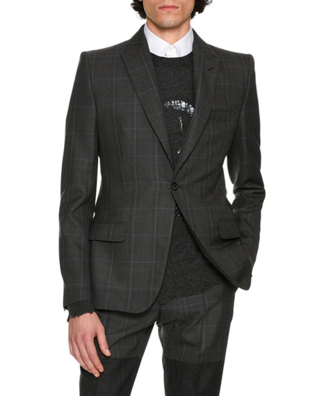 Alexander McQueen Glen Plaid Wool Sport Coat, Multicolor