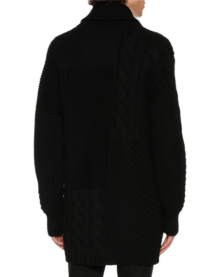 Oversized Zip-Panel Cardigan, Black