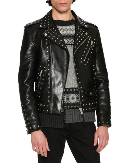 Alexander McQueen Studded Calf Leather Moto Jacket, Black