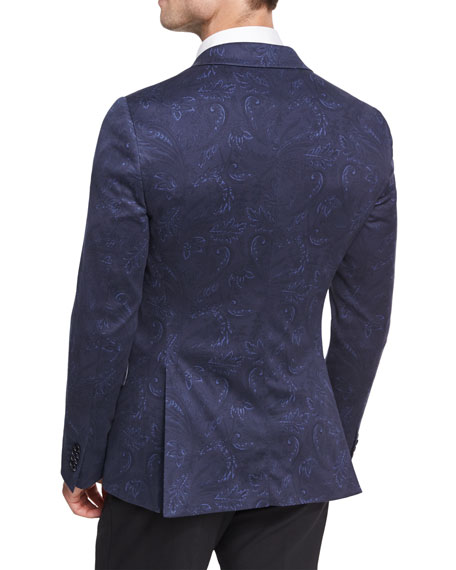 Paisley Cotton Sport Coat, Navy