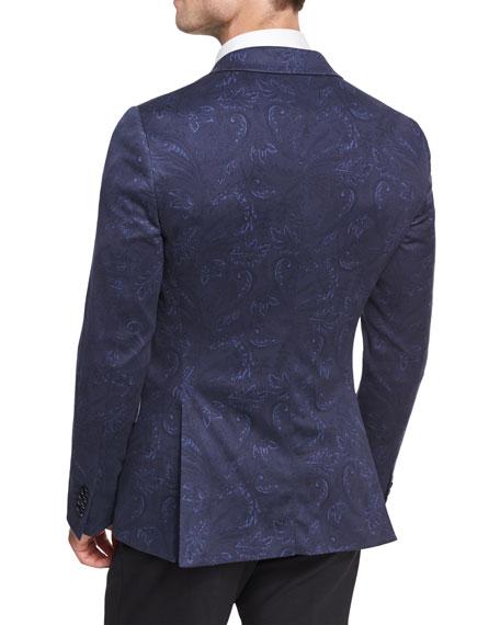 Paisley Cotton Sport Coat, Navy