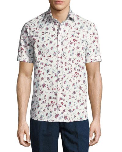 Floral-Print Short-Sleeve Cotton Shirt, White