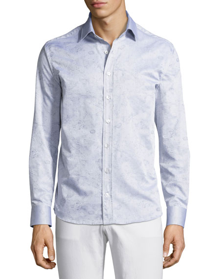 Constellation-Print Cotton Shirt, Gray