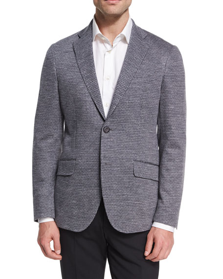 Jersey Check Sport Coat, Gray