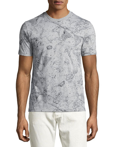 Constellation-Print T-Shirt, Gray