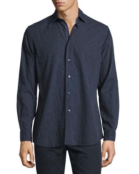Tonal Paisley Washed Cotton Shirt, Navy