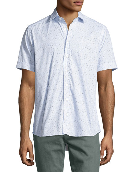 Topography-Print Short-Sleeve Cotton Shirt, White