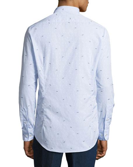 Bird-Embroidered Cotton Shirt, Blue