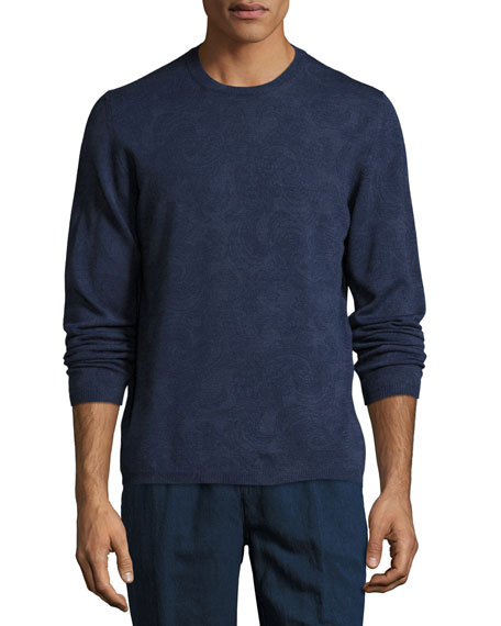 Paisley Wool Crewneck Sweater, Blue