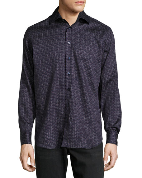Lined-Dot Cotton Shirt, Navy