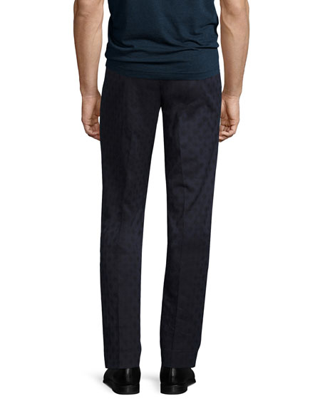 Diamond-Jacquard Stretch-Cotton Pants