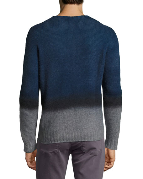 Ombre Cashmere Crewneck Sweater, Navy