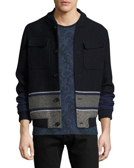 Wool Blanket-Stripe Bomber Jacket, Navy