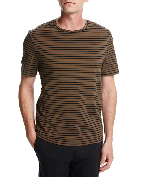 Narrow-Stripe Crewneck T-Shirt, Brown/Black