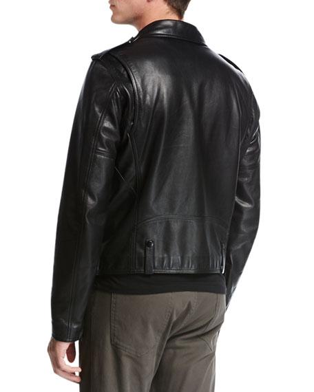 Italian Leather Motorcycle Jacket, Black