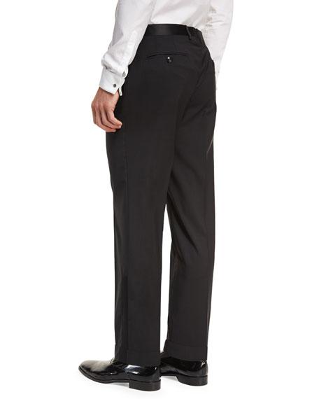 Wool Satin-Trim Tuxedo Pants