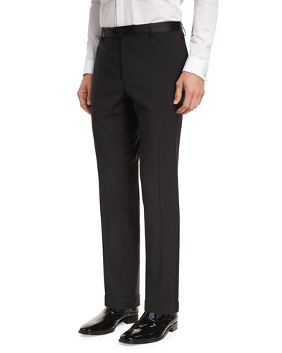Wool Satin-Trim Tuxedo Pants