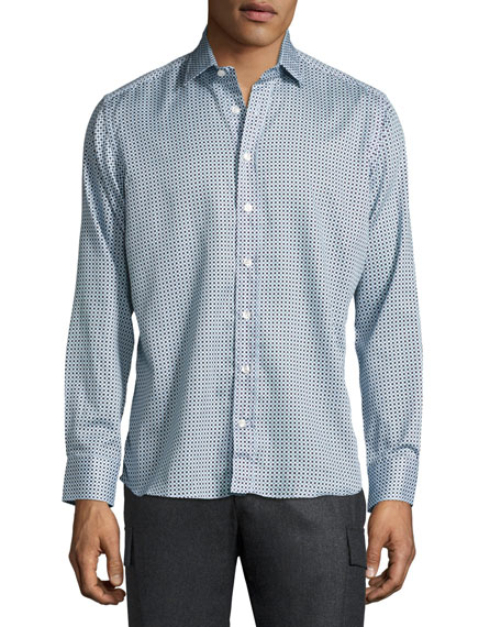 Geometric-Print Cotton Shirt, Blue/White