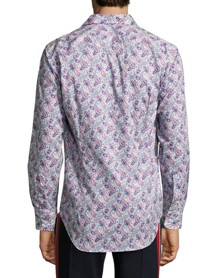 Paisley-Print Cotton Shirt, Navy/White/Magenta