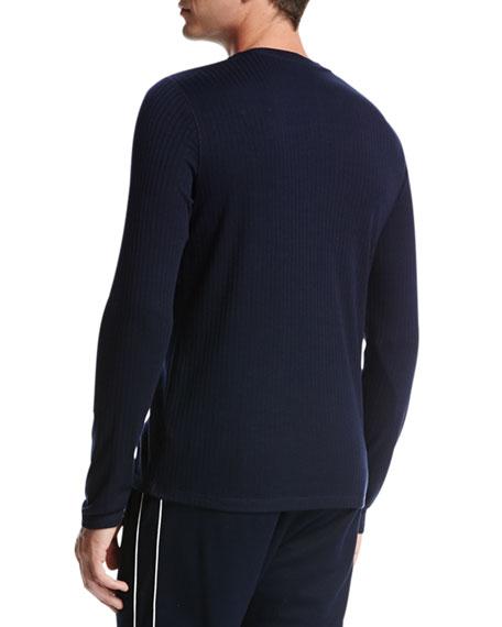 Flat-Back Ribbed Henley T-Shirt