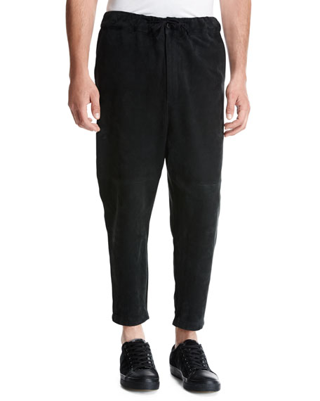Suede Drawstring Jogger Pants, Black