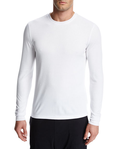 Flat-Back Ribbed Long-Sleeve Crewneck T-Shirt, White