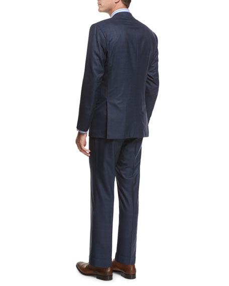Tonal-Stripe Wool Two-Piece Suit, Blue
