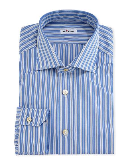 Multi-Striped Cotton Dress Shirt, Blue/White
