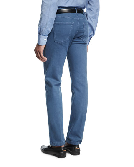 Washed Stretch-Denim Straight-Leg Jeans