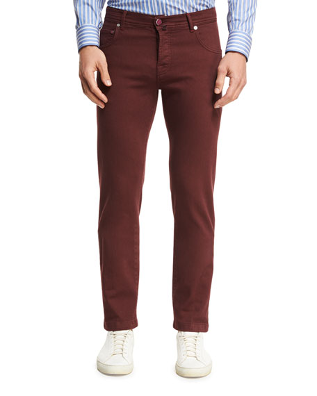Twill Five-Pocket Pants, Red
