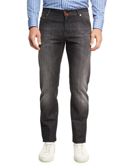 Washed Denim Straight-Leg Jeans