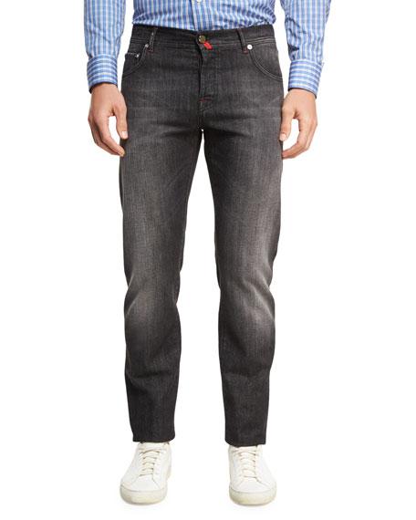 Washed Denim Straight-Leg Jeans
