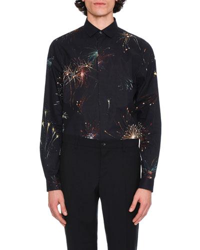 Fireworks Long-Sleeve Cotton Shirt, Navy