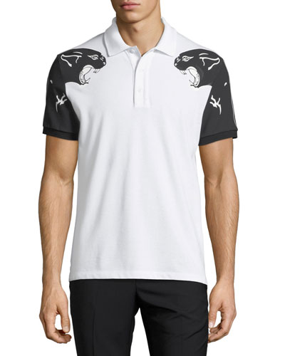 Panther-Print Polo Shirt