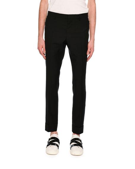 Zip-Pocket Slim-Straight Pants, Black