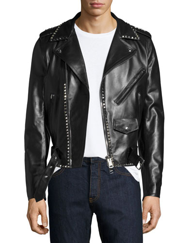 Rockstud Leather Moto Jacket