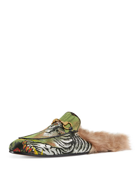 Princetown Tiger Jacquard Fur-Lined Slipper