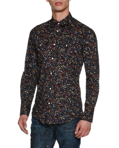 Floral-Print Western Shirt