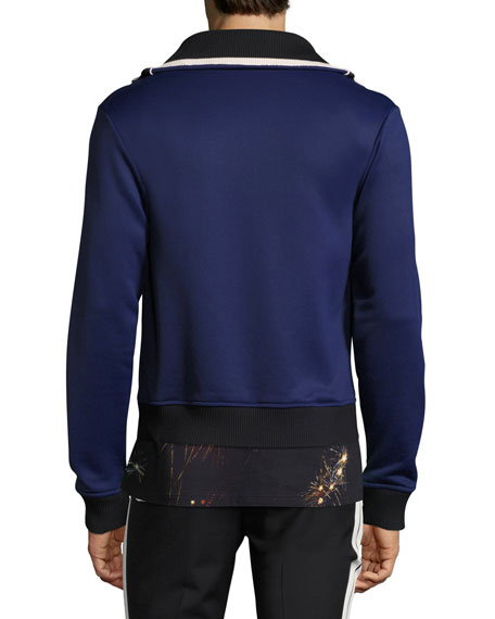 Blocked Knit Track Jacket, Blue