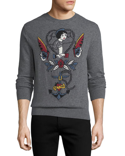 Tattoo Intarsia Cashmere-Wool Sweater